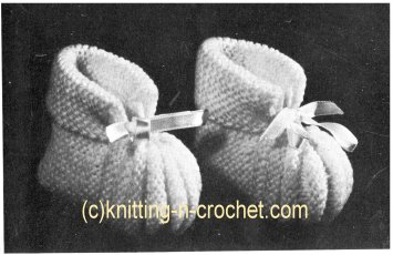 Free knitted baby booties pattern, unusual knitted slippers pattern