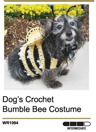 Puppy halloween costumes Bumble Bee free crochet pattern