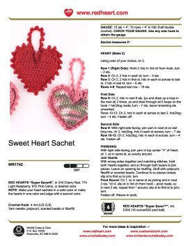 Mary Maxim - Free Sweet Heart Sachet Crochet Pattern
