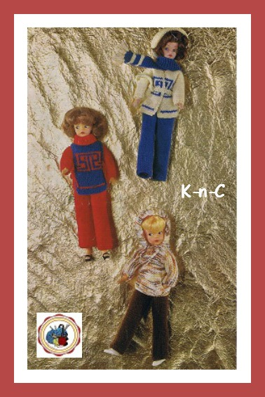 Knit doll coat and outfits