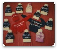 Hats and sweaters created on the knitting machine
